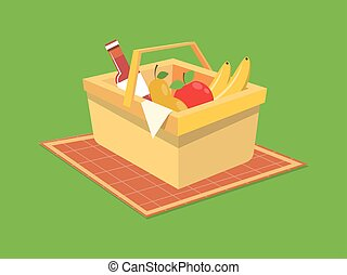 Picnic basket food cartoon vector illustration