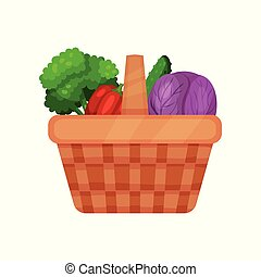 Picnic basket full of fresh vegetables red cabbage, cucumber, pepper and broccoli. Natural and healthy food. Flat vector icon