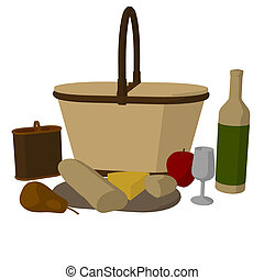 Picnic Basket Illustration - Picnic basket on a white...