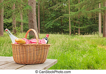 Picnic basket in a woodland setting