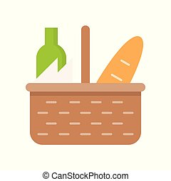 picnic basket isolated on white background vector