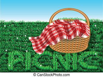 picnic. basket on a green lawn. 10 EPS
