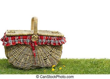 Picnic Basket - Picnic basket on green grass, over white ...