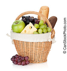 Picnic basket with bread and fruits. Isolated on white...