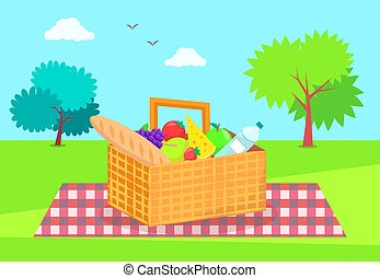 Picnic Basket with Fresh Vegetables and Fruits