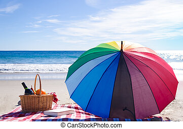 Picnic basket with fruits by the ocean - Picnic background...