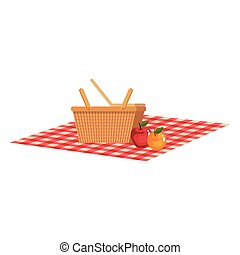 picnic basket with fruits on tableclothes