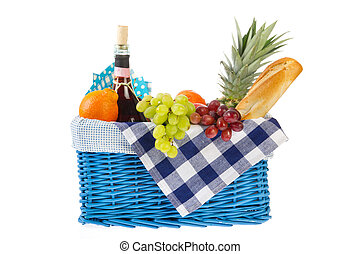 Picnic basket with healthy food