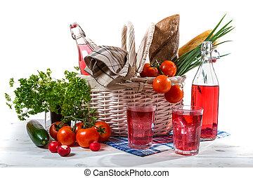 Picnic basket with vegetables