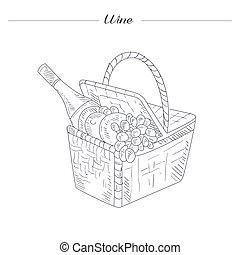 Picnic Basket With Wine Hand Drawn Realistic Sketch