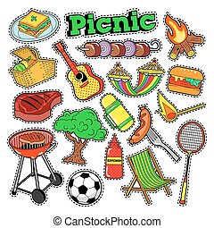 Picnic BBQ Doodle Stickers, Badges, Patches for Scrapbooking. Vector illustration