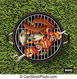 Picnic bbq Vector realistic. Green grass lawn background. Fish and sausages cooking on the grill