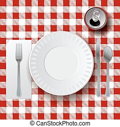 Picnic Casual Dining Placesetting Illustration - An...