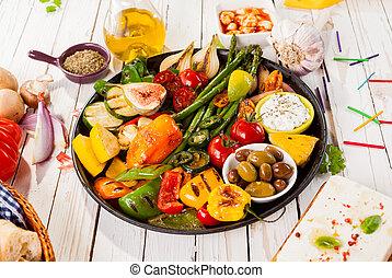 picnic, colorito, cotto ferri, generosità, verdura, tavola
