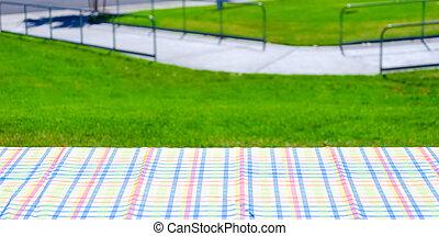 picnic, colorito, tovaglia, tavola