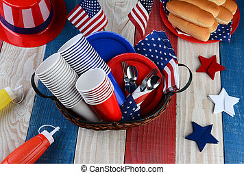 picnic, cuarto, tabla, listo, fiesta, julio