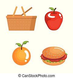picnic day set icons