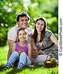 picnic, detenere, famiglia, fuori