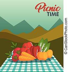 picnic, disegno, tempo