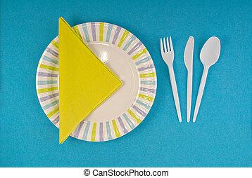 picnic, dishware, disponible, ajuste