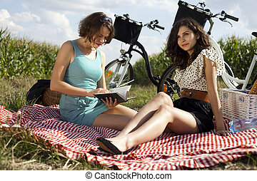 picnic, dos, mujeres