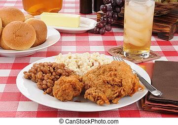 picnic, fagioli, tavola, pollo, fritto, cotto