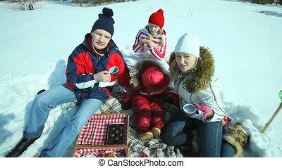 Picnic family - Zoom of a family having picnic on a sunny...