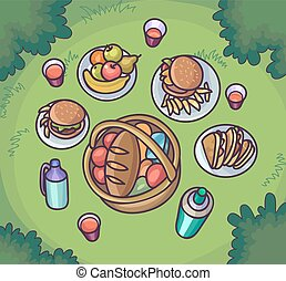 Picnic food in the meadow. Flat cartoon outdoor meal set....