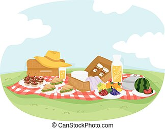 Colorful Illustration Featuring a Picnic Setup Composed of Cupcakes, Fruits, and Sandwiches
