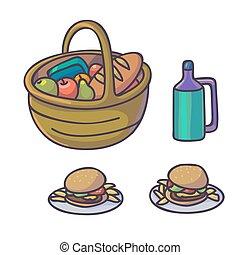 Picnic food set. Flat cartoon outdoor meal. Different...