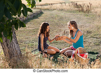 Picnic girls - Young girls sharing bread during a picnic in...