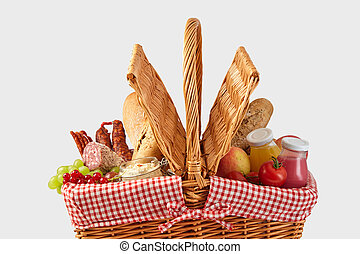 Picnic hamper filled with healthy fresh food