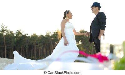 Picnic Honeymoon together - Bridegroom and his bride...