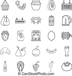 Picnic icons set, outline style
