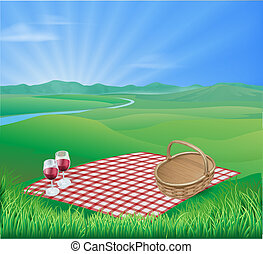 Picnic in beautiful rural scene - Illustration of a picnic...
