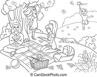 Picnic in nature coloring book for children cartoon vector illustration