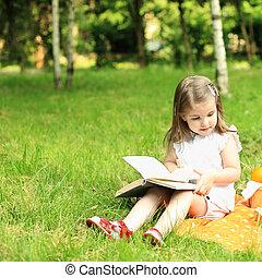 Picnic in park - Child having picnic in summer park