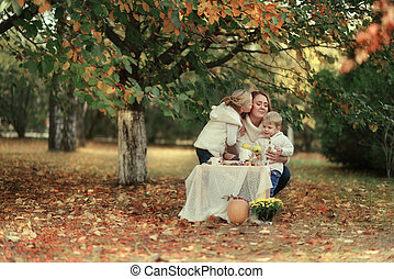 picnic in the autumn forest