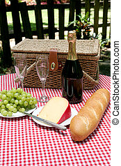 Picnic In The Country - A vertical view of a picnic for two...