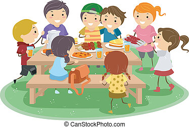 Picnic Kids - Illustration of Kids Having a Picnic