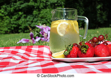 Picnic lemonade - Pitcher of lemonade in jar with lemons, ...