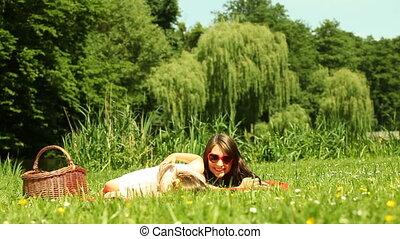 picnic., mère, fille, relâcher