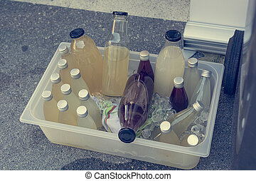 Picnic made refrigirator to cool down drinks during summer.