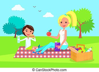 Picnic of Mother and Daughter Vector Illustration