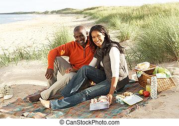picnic, pareja, joven, juntos, el gozar, playa