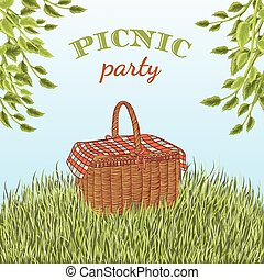Picnic party in meadow with picnic basket and tree branches....