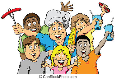 Picnic Party Invitation - A group of people celebrating a ...
