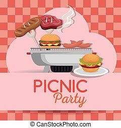 picnic party invitation set icons