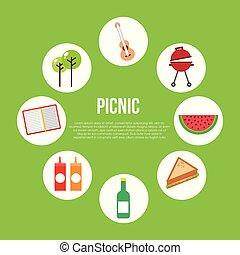 picnic party scene icon