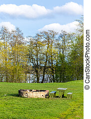 Picnic place in the meadow